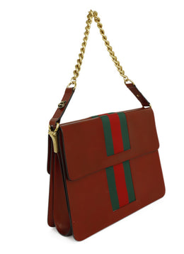 Gucci Red Leather Green Stripes GG Marmont Shoulder Handbag 2
