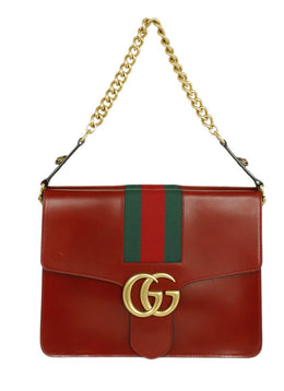 Gucci Red Leather Green Stripes GG Marmont Shoulder Handbag 1