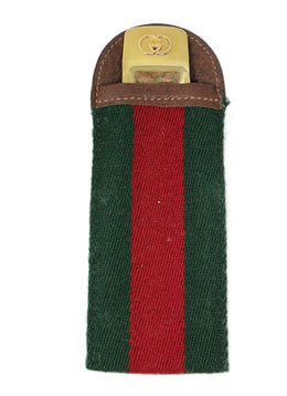 Gucci Gold Shoe Horn with Classic Green and Red Striped Canvas Holder 1
