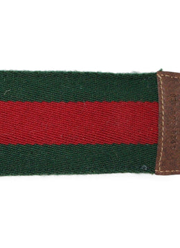 Gucci Gold Shoe Horn with Classic Green and Red Striped Canvas Holder 2