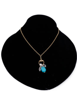 Gucci Yellow 18 K Gold Turquoise Diamond Horsebit Bee Necklace 1