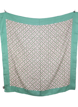 "Gucci Green Beige Monogram Silk ""as is"" Scarf 2"