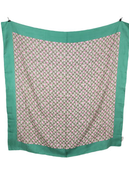 "Gucci Green Beige Monogram Silk ""as is"" Scarf 1"