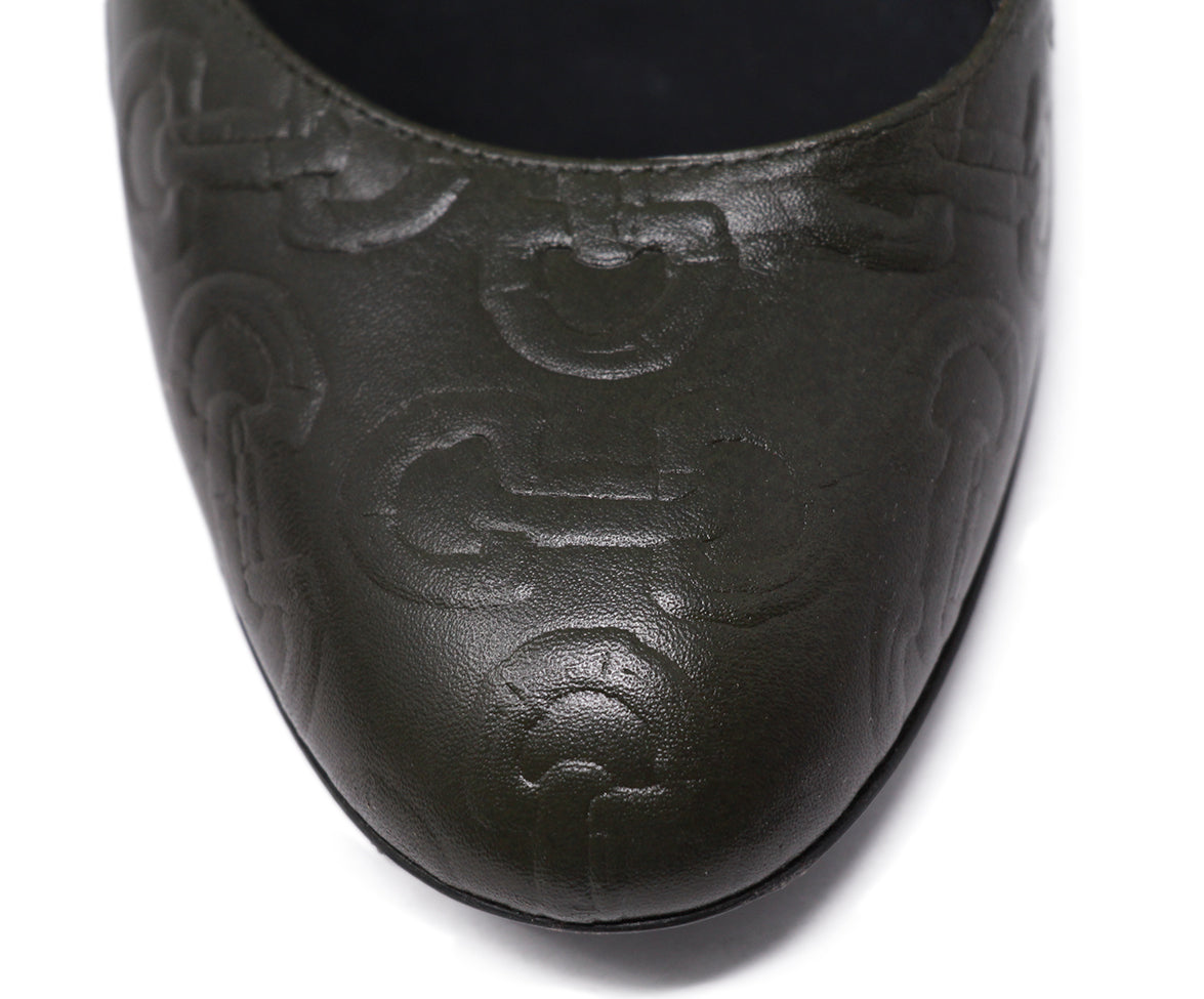 Gucci Green Olive Leather Shoes 7