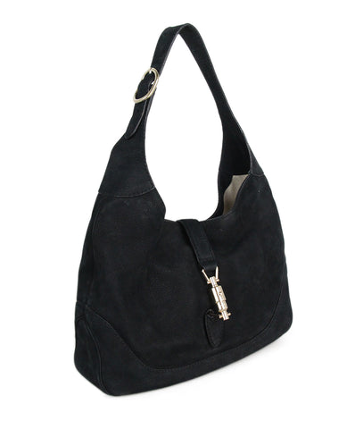 Gucci Jackie O Hobo Black Suede Shoulder Bag 1