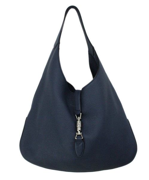 Gucci Jackie O Large Navy Pebbled Leather Shoulderbag 1