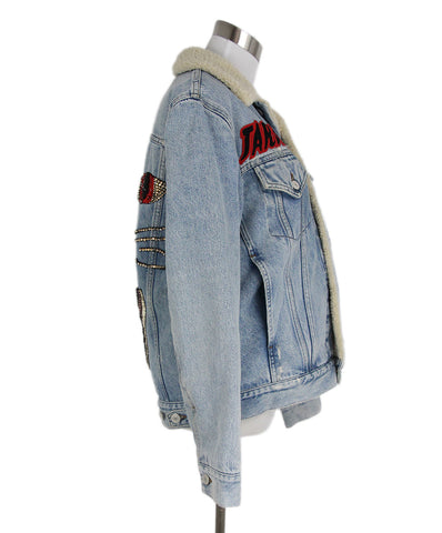 Gucci Blue Denim Red Embroidery Shearling Jacket 1