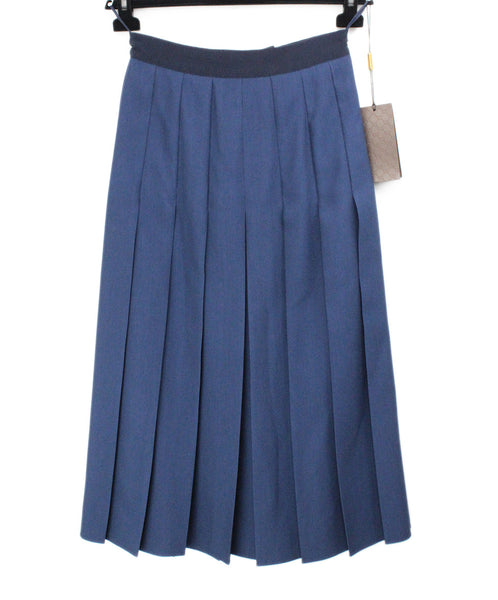 Gucci Navy Wool Pleated Skirt 1