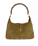 Gucci Neutral Tan Suede Leather Trim Bamboo Vintage Jackie O Shoulder Bag Handbag 1