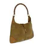 Gucci Neutral Tan Suede Leather Trim Bamboo Vintage Jackie O Shoulder Bag Handbag 2