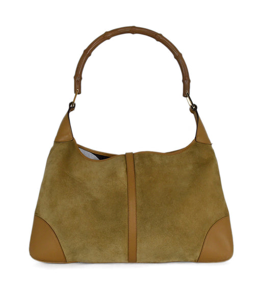 Gucci Neutral Tan Suede Leather Trim Bamboo Vintage Jackie O Shoulder Bag Handbag 3