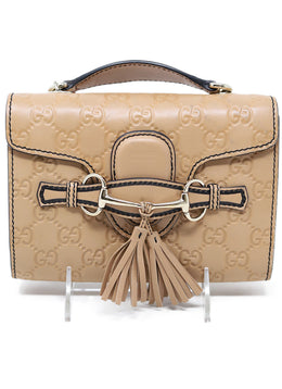 Gucci Neutral Leather Crossbody Handbag