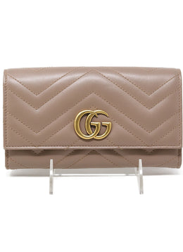 "Gucci ""Marmont Continental GG"" Neutral Quilted Leather Wallet"