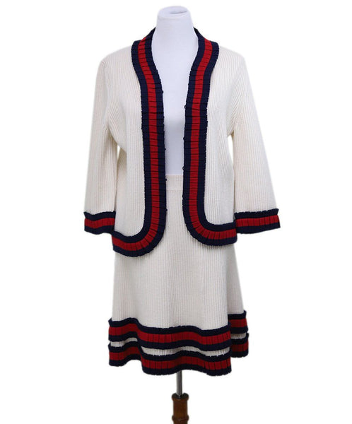 Gucci Ivory Wool Knit Skirt Suit Set Size 10