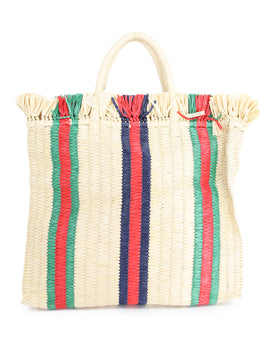 Gucci Web Woven Straw Tote with Red,Green, Blue Stripe Detail 1