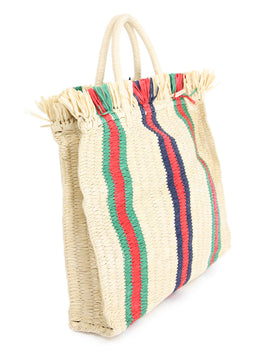 Gucci Web Woven Straw Tote with Red,Green, Blue Stripe Detail 2