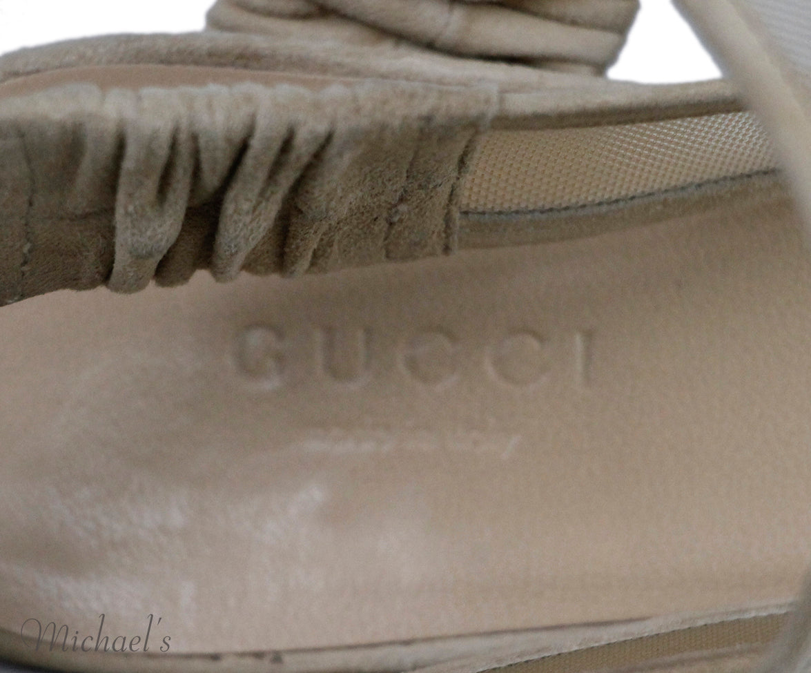 Gucci Nude Suede Mesh Shoes Sz 37