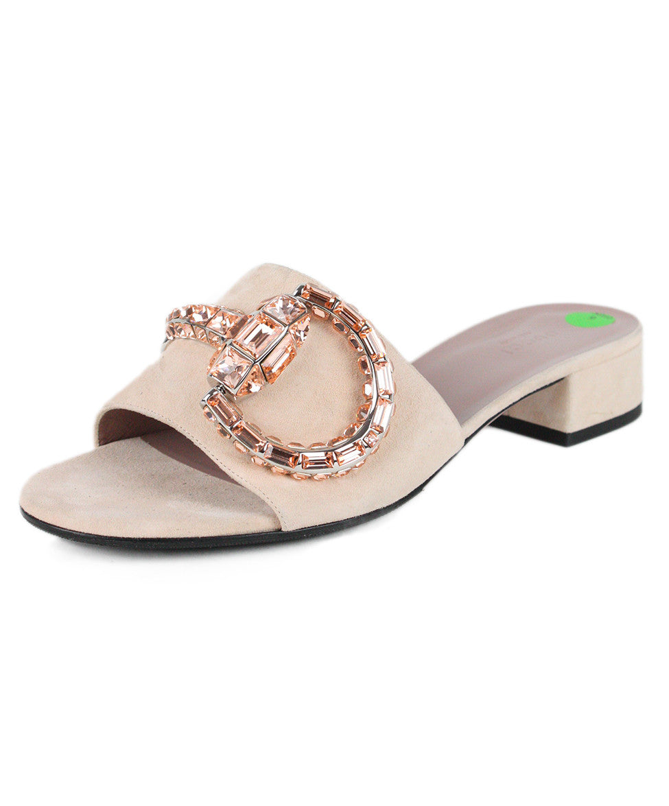 Gucci Pale Pink Suede Rhinestone Shoes Sz 39 - Michael's Consignment NYC  - 1