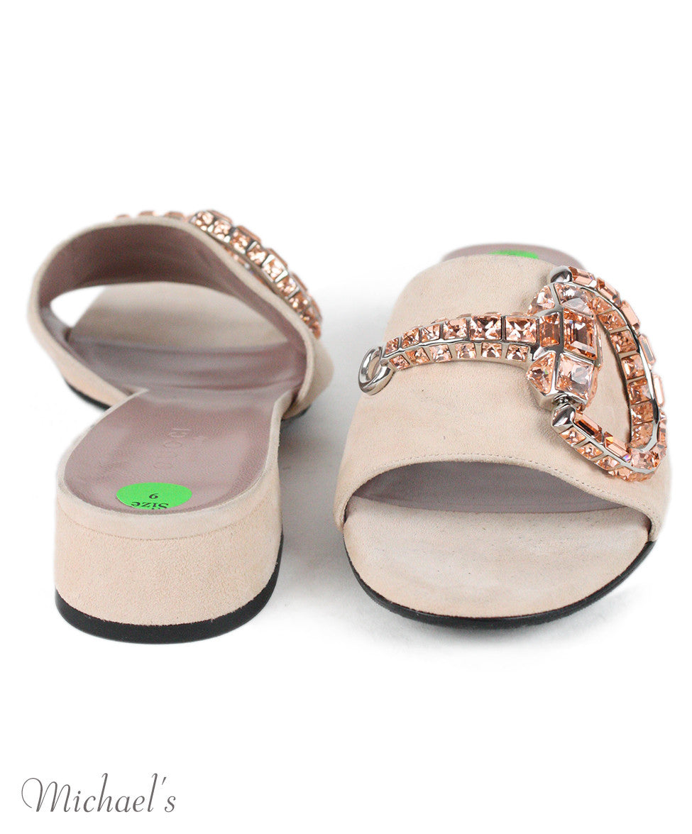 Gucci Pale Pink Suede Rhinestone Shoes Sz 39 - Michael's Consignment NYC  - 3