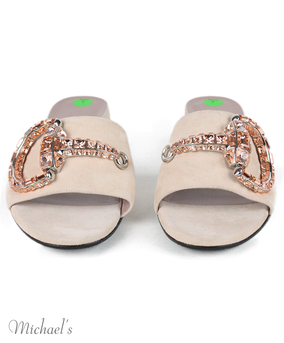 Gucci Pale Pink Suede Rhinestone Shoes Sz 39 - Michael's Consignment NYC  - 4