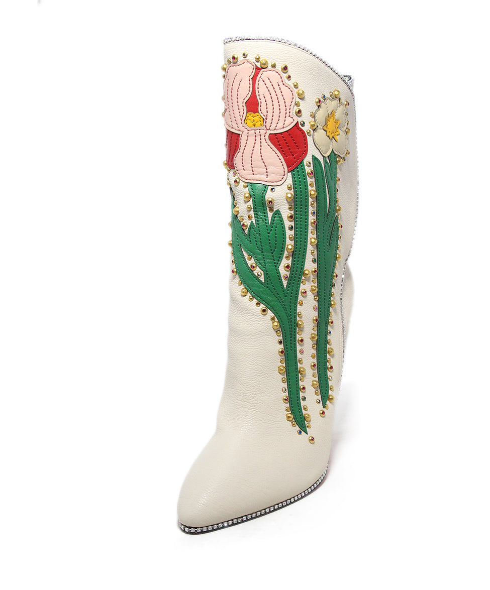 58f49ef3e Gucci US 9 White Pink Green Leather Floral Rhinestones W/Box Boots ...