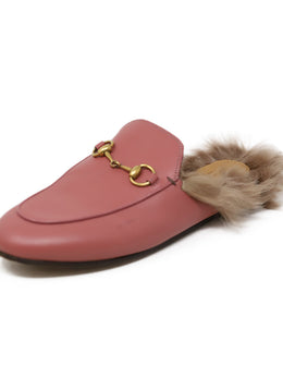 Mules Gucci Pink Leather Gold Toggle Fur Lining Shoes 1