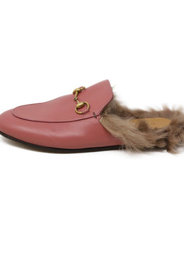 Mules Gucci Pink Leather Gold Toggle Fur Lining Shoes 2