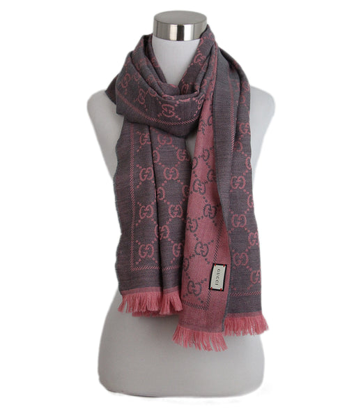 Gucci Pink grey monogram wool scarf 2