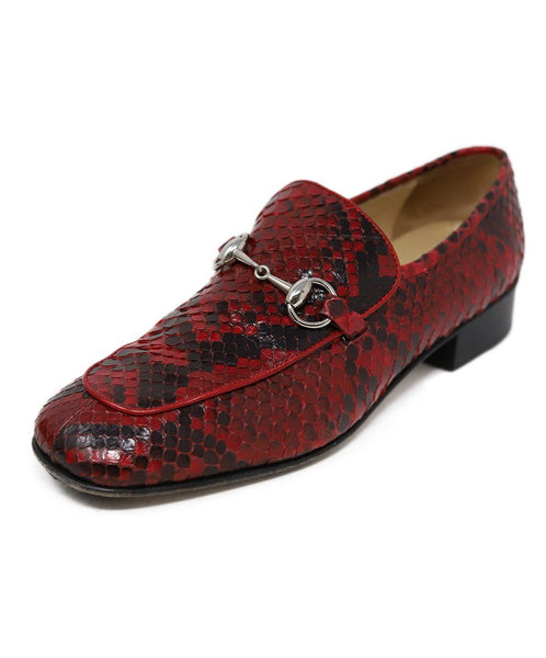 Gucci Red Black Snake Skin Silver Hardware Shoes 1