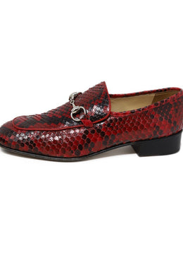 Gucci Red Black Snake Skin Silver Hardware Shoes 2