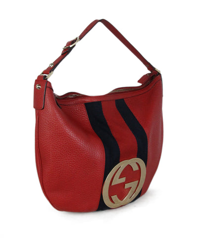 Gucci Red Navy Leather Stripes Bag 1