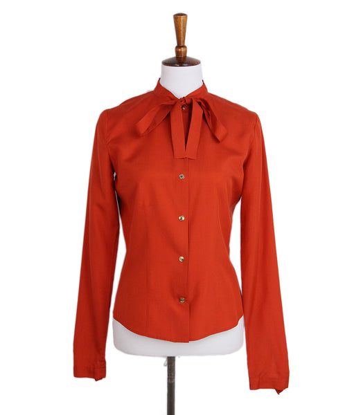 Gucci Red Orange Silk Blouse 1