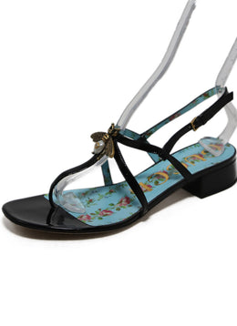 Gucci Black Patent Leather Sandals with Bee Detail 2