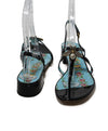 Gucci Black Patent Leather Sandals with Bee Detail 3