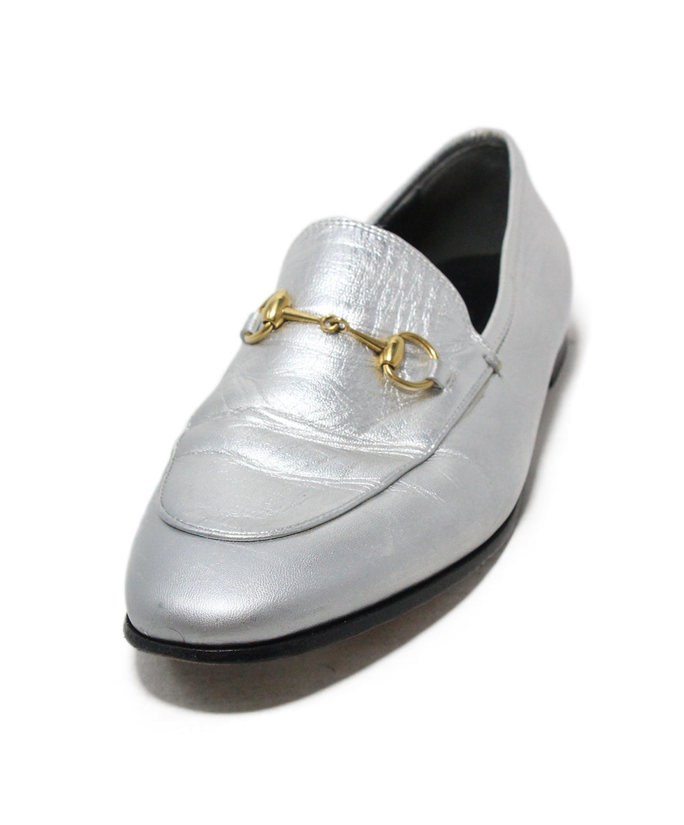 a8bc81013 Gucci Flats US 10.5 Metallic Silver Leather Horsebit Shoes ...