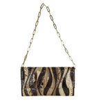 Gucci Brown Beige Print Snake Skin Gold Trim Handbag 1