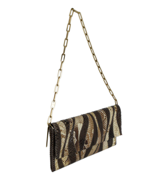 Gucci Brown Beige Print Snake Skin Gold Trim Handbag 2