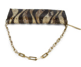 Gucci Brown Beige Print Snake Skin Gold Trim Handbag 5