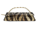 Gucci Brown Beige Print Snake Skin Gold Trim Handbag 4