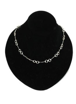 Gucci Metallic Sterling Silver Horsebit Links Necklace 1