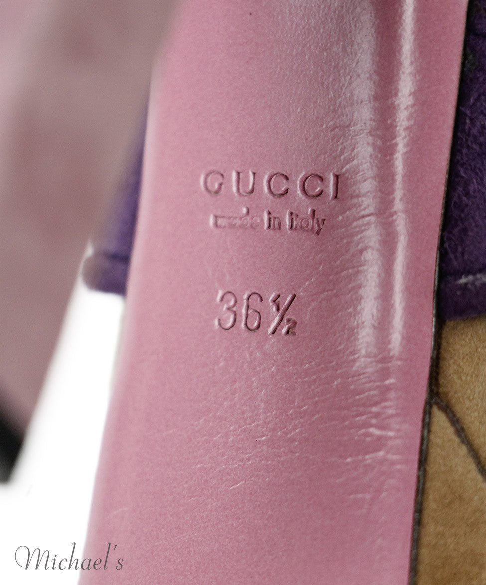 Gucci Tan Purple Suede Shoes Sz 36.5