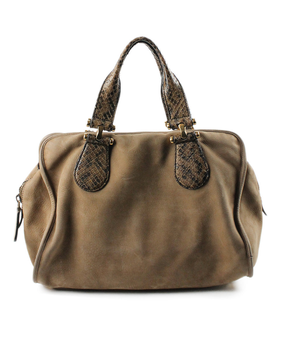Gucci Taupe Brown Suede Snake Skin Bag - Michael's Consignment NYC  - 1