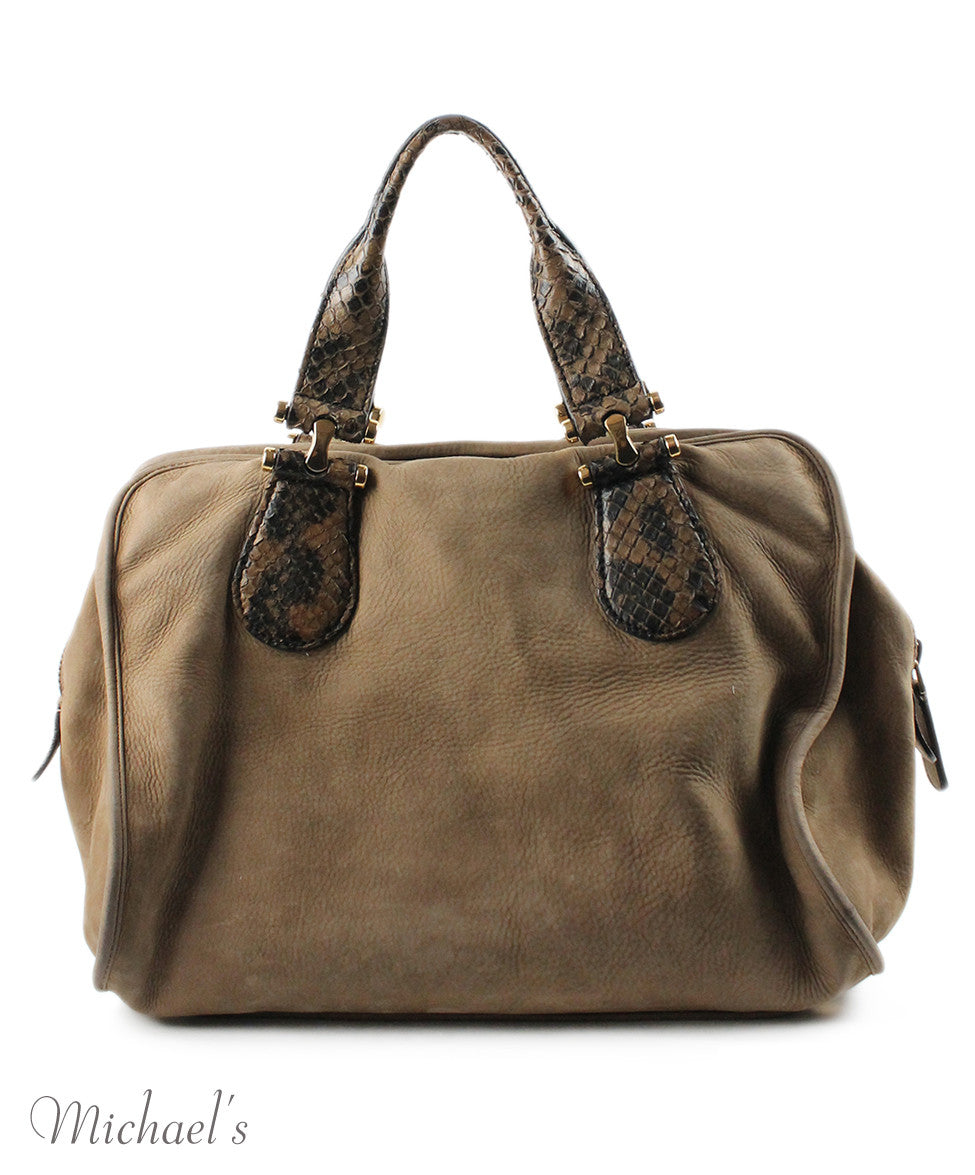 Gucci Taupe Brown Suede Snake Skin Bag - Michael's Consignment NYC  - 3