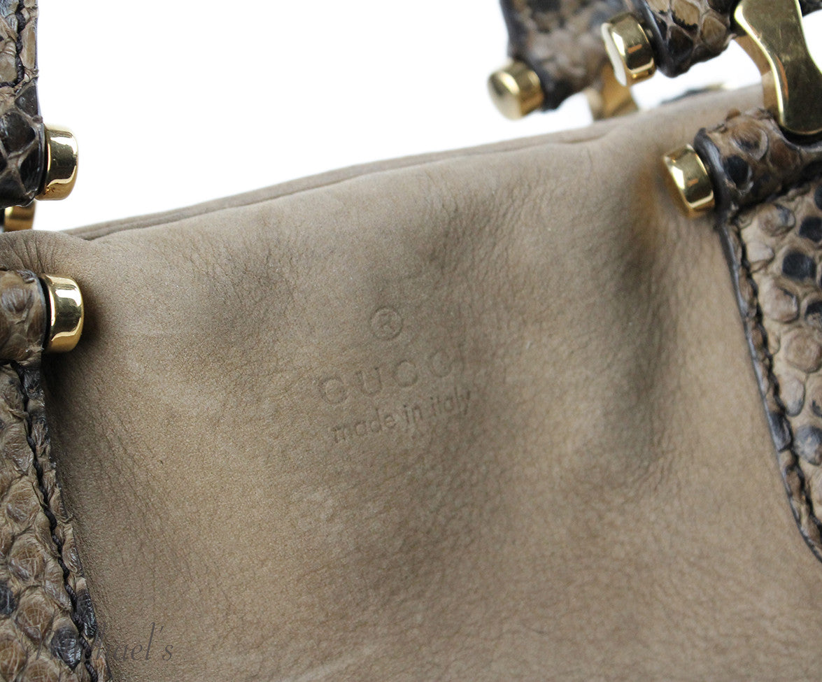 Gucci Taupe Brown Suede Snake Skin Bag - Michael's Consignment NYC  - 4