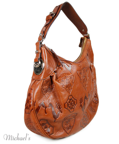 Gucci Brown Tobacco Embossed Leather Handbag