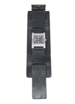 Gucci Vintage Black Leather Watch with Extra Wide Band 1