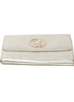 Wallet Gucci Metallic Gold Leather Leather Goods 1