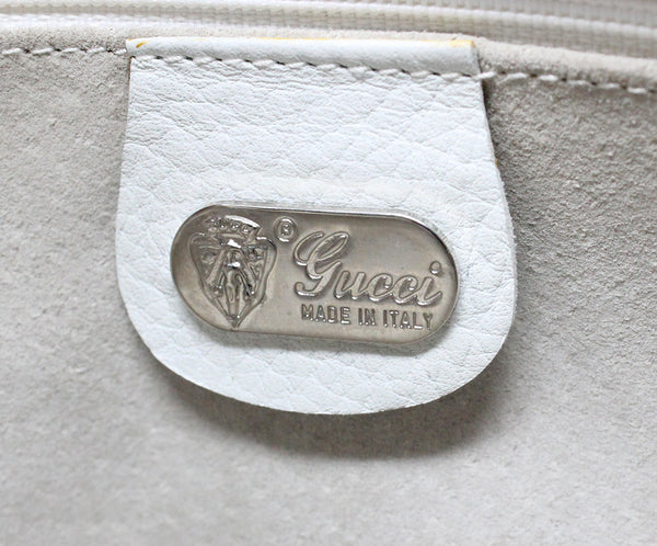 Gucci Vintage White Leather Shoulder Bag 2