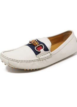 Gucci White Leather Loafers with Bamboo Toggle 1