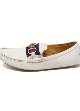 Gucci White Leather Loafers with Bamboo Toggle 2